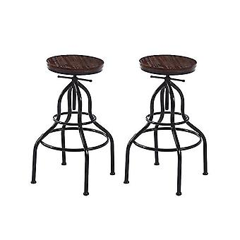 2 Pcs Bar Stool Swivel Gas Lift Kitchen Wooden Dining Chair