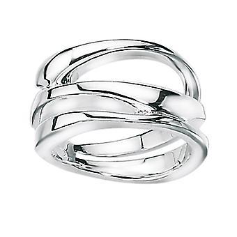 Elementos plata de ley R2533 54 damas plata anillo de tres capas