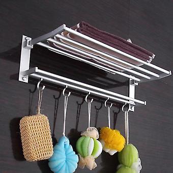 Porte-serviettes pliables en aluminium Chrome Bathroom Racks - Étagère murale montée avec crochets