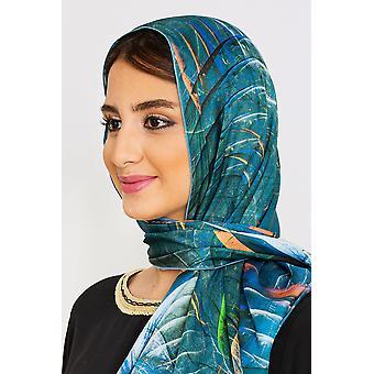 Dam lätt halsduk i blandat blått tryck