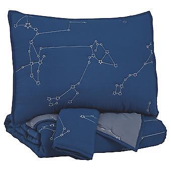 Constellation Tema de tamaño completo tela Comforter set con 1 Sham, azul