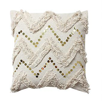 18 X 18 Cotton Pillow With Fringe And Sequin Chevron Details, Beige