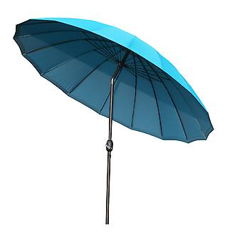 Outsunny 2.6m Round Curved Adjustable Shanghai Parasol Outdoor Sun Umbrella Handle Support Garden Shelter Shade - Turquoise