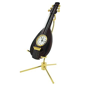 GTP Mandolin Wood Finish & Goldtone Plated on Alloy With Stand Novelty Desktop Collectors Miniature Clock IMP87W