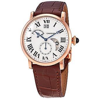 Cartier Rotonde Retrograde Silvered Guilloche Dial 18kt Rose Gold Men's Watch W1556240