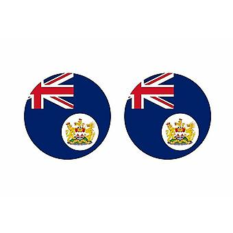 2x stick klistermärke rund cocarde gammal Hong Kong flagga