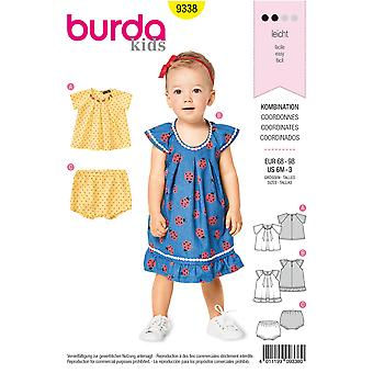Burda sömnad mönster 9338 småbarn flickor klänning topp byxor storlek 6m-3 Euro 68-98