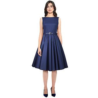 Chic Star Plus Size Sleeveless Belted Dress In Navy