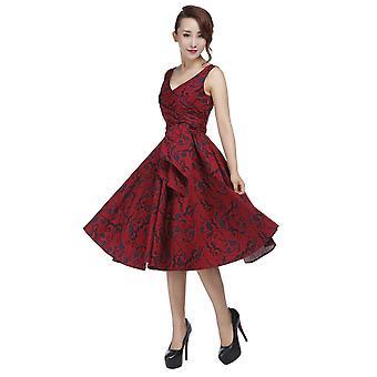 Chic Star Plus Velikost Retro Wrap Šaty bez rukávů v červené barvě