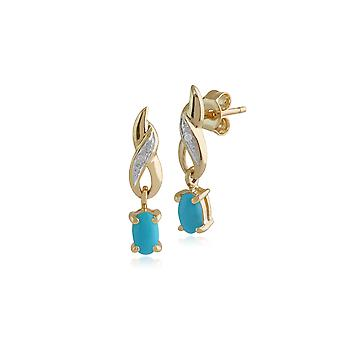 Classic Oval Turquoise & Diamond Twist Drop Earrings in 9ct Yellow Gold 135E0944169