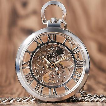 Vintage Watch Necklace Steampunk Skeleton Mechanical Fob Pocket Watch