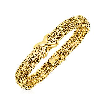 14k Two Tone Gold 7 1/4 inch Multi Strand Textured and Polished Bracelet