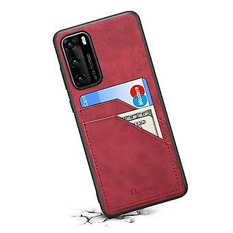 Étui de fente pour carte portefeuille en cuir pour huawei p40 rétro rouge pc2950