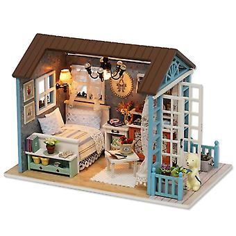 Diy house see land time music box cabin with dust cover building assembly christmas gift