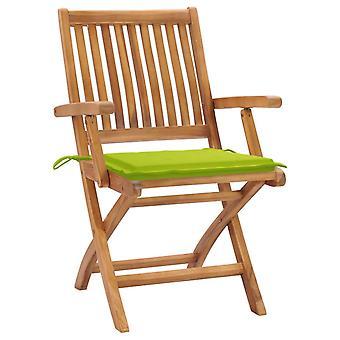 sedie da giardino vidaXL 2 pezzi. con cuscino verde chiaro teak legno massello