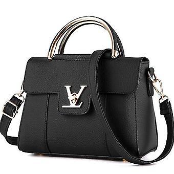 Bolso de embrague de cuero de lujo para mujer Bolso para damas Marca Bolsos de mensajero para mujer Bolso de mano (Negro)