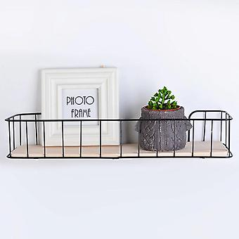 1pc Wall Mounted Wire Rack Industrial Metal Wood Wall Wire Shelf Storage Floating  Holders & Racks