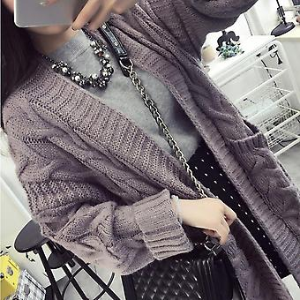 Women Korean Fashion Long Sleeve Loose Long Style Lady Thick Knitted Cardigan