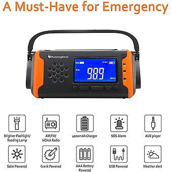 Przenośne radio Emergency Weather Crank Solar Powered 4000mAh Zasilanie bateryjne Jasna latarka