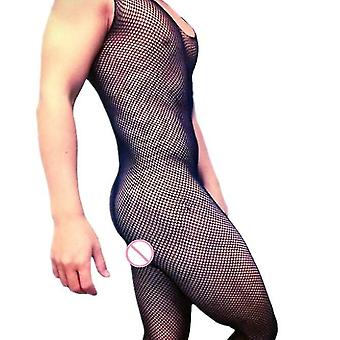 Male Underwear Sleeveless Bodystocking Mens Open Crotch Fishnet Bodysuit