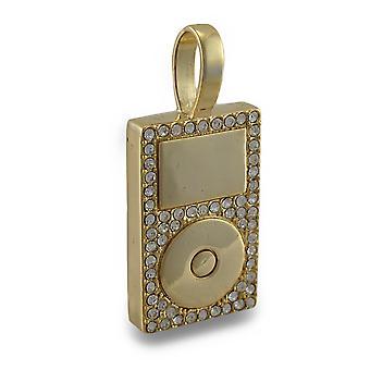Goldtone Rhinestone Encrusted MP3 Player Pendant