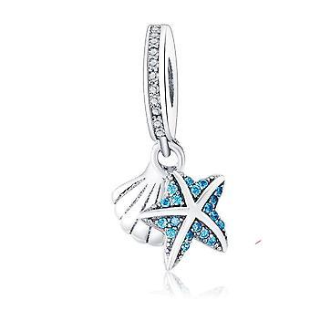 925 Sterling Ezüst Medál Charms karkötő nyaklánc Tengeri csillag kagyló Dangle Nők DIY Ékszerek