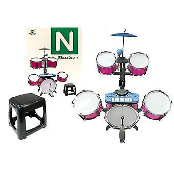 Kinder Drumtel - mit Mikrofon und Keyboard - Pink