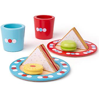 Toy kitchens play food wooden tea time play set - pretend play