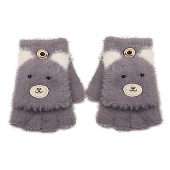 Kid Kleinkind Handschuhe Winter Wolle Strick Fäustlinge Flip Fingerlose Handschuhe
