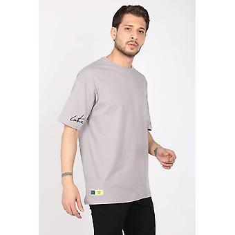 menns lysegrå mannskap nakke oversize t-skjorte