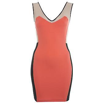 Miss Selfridge Coral Colour Block Dress DR583-14