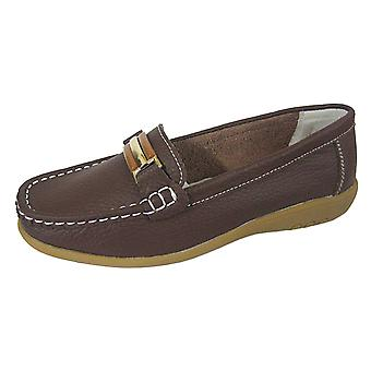 Ladies Coolers Premier Real Leather Uppers Slip On Loafer Boat Deck Shoes