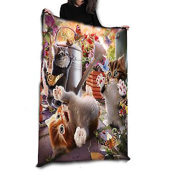 Wild star hearts -kitten playtime - fleece / throw / tapestry