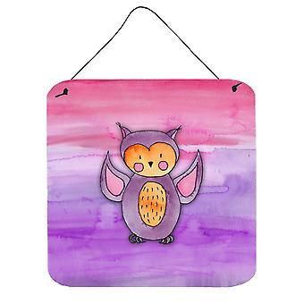 Hibou rose et violet aquarelle mur ou une porte suspendue imprime