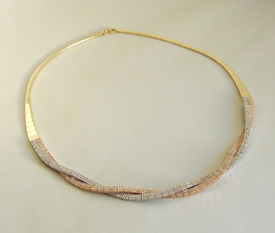 14 karaat geel-, wit- en rosé gouden collier met zirkonia