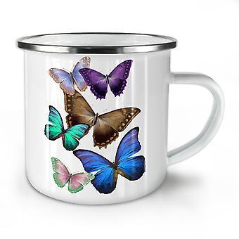 Butterfly Multicolor NEW WhiteTea Coffee Enamel Mug10 oz | Wellcoda