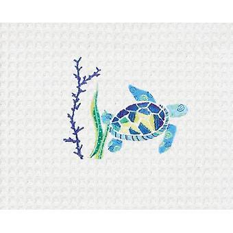 Przybrzeżnych Blue Sea Turtle pływania w kuchnia Koral bawełniana Ścierka