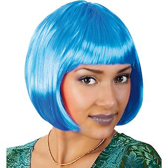 Neon Lola blue Bob perruque cheveux courts poney
