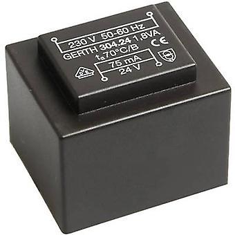 PCB mount transformator 1 x 230 V 2 x 12 V AC 1.80 VA 75 mA PT302402 Gerth