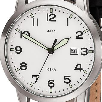 JOBO men's wristwatch quartz analog stainless steel leather strap black mens watch date