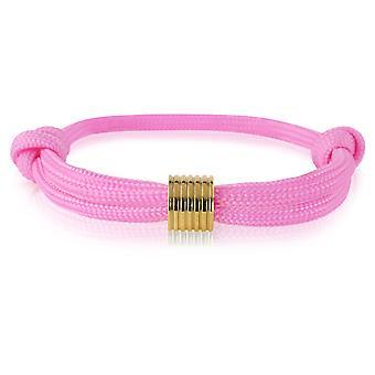 Schipper armband surfer band mark knooppunten armband roze gouden hanger 7365