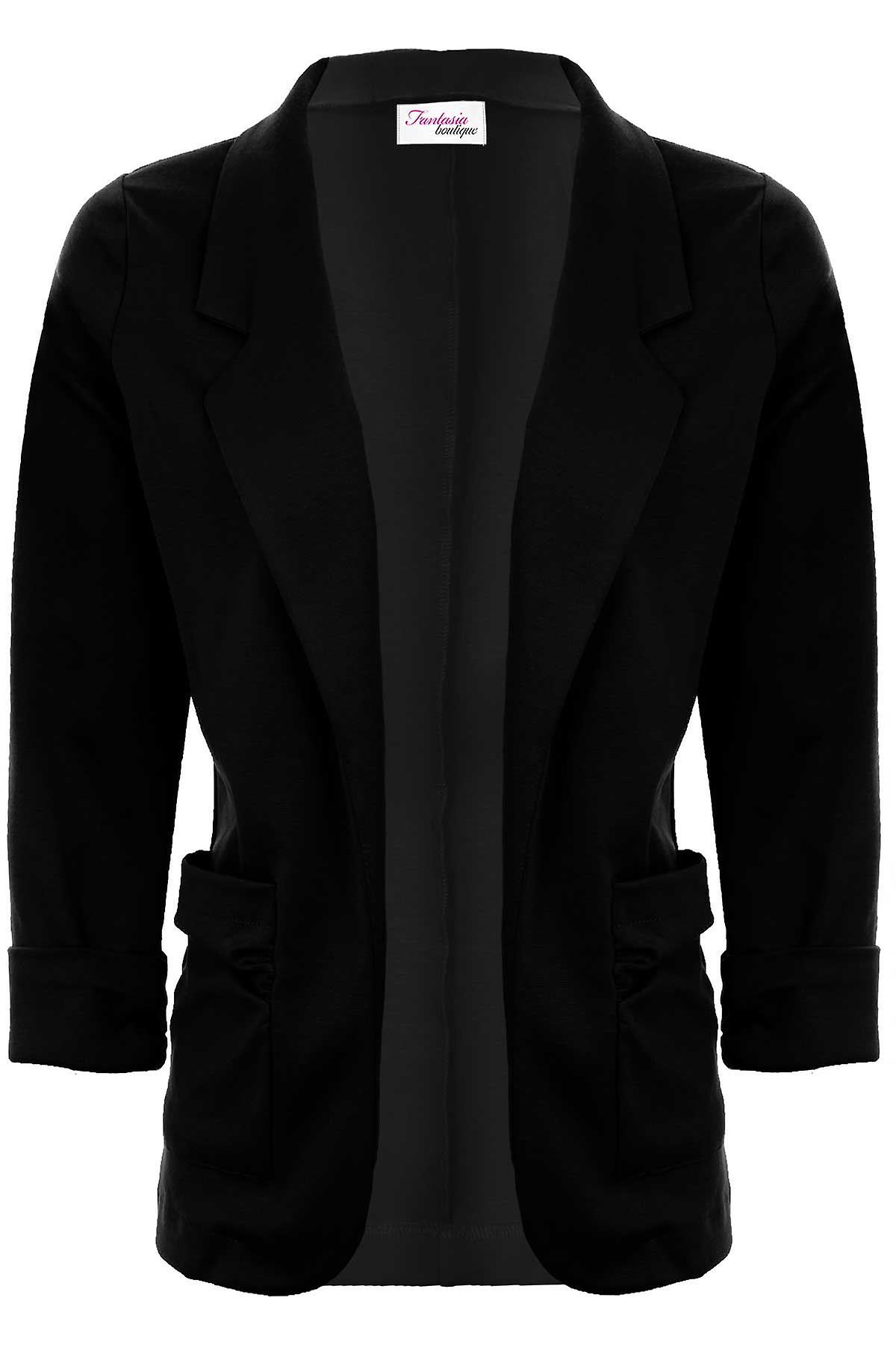 Naisten avoin edessä kääntää ylös käsiraudat Ruched Pocket bleiseri naisten takki