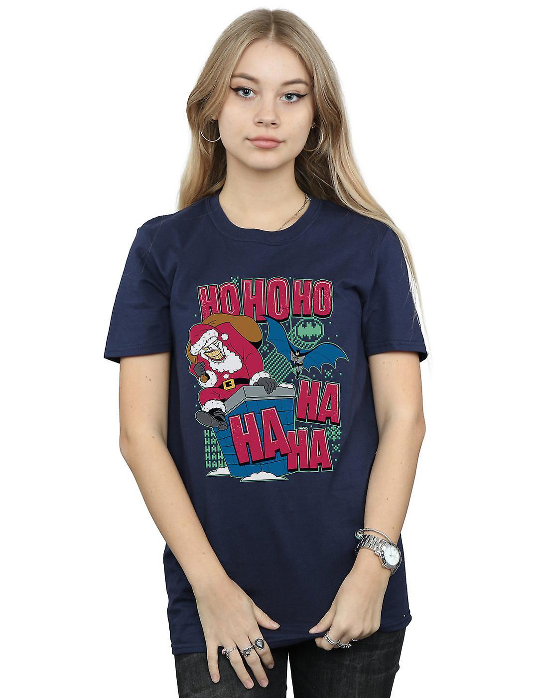 DC Comics Women's Batman And Joker Ha Ha Ha Ho Ho Ho Boyfriend Fit T-Shirt