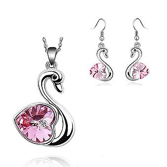 Beautiful Crystal Love Pink Heart In A Swan Jewellery Set Earrings And Matching Necklace