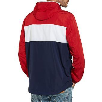 Wrangler Mens Paul Pop-Over Hooded Waterproof Pullover Jacket - Navy Red