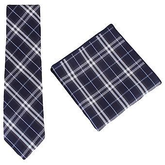 Knightsbridge dassen Check katoen stropdas en zak plein Set - Navy/wit