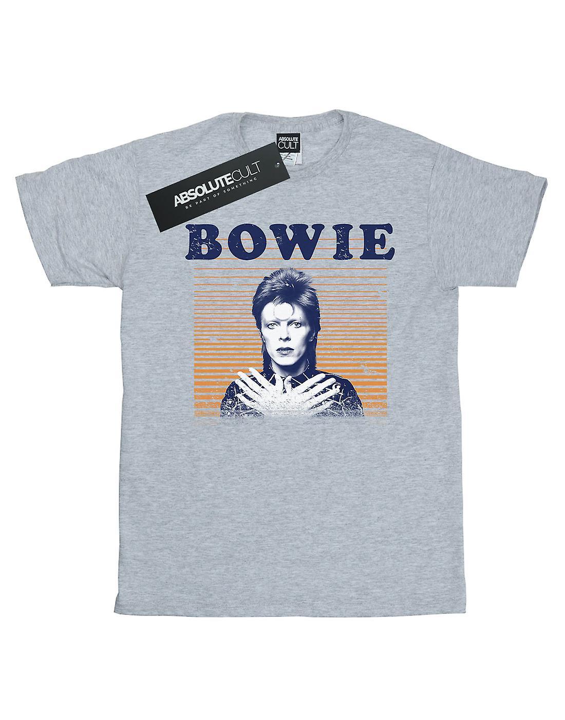 David Bowie Men's Orange Stripes T-Shirt