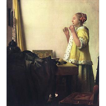 Mulher com um wer da colar da pérola, Johannes Vermeer, 55x45cm
