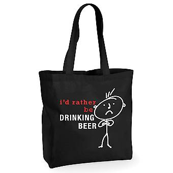 Mens I'd Rather Be Drinking Beer Black Cotton Shopping Bag