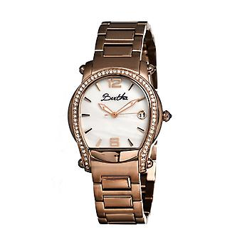 Bertha Fiona MOP Ladies Bracelet Watch w/ Date - Rose Gold/White